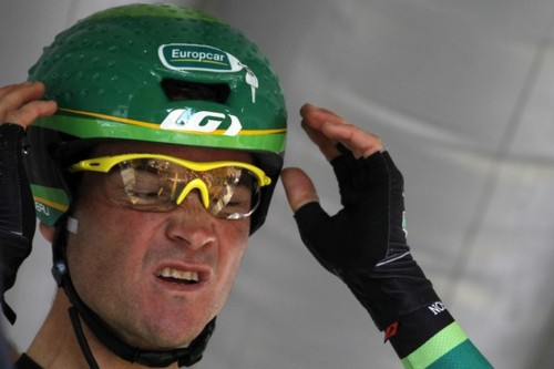 France's Thomas Voeckler adjusts his hel