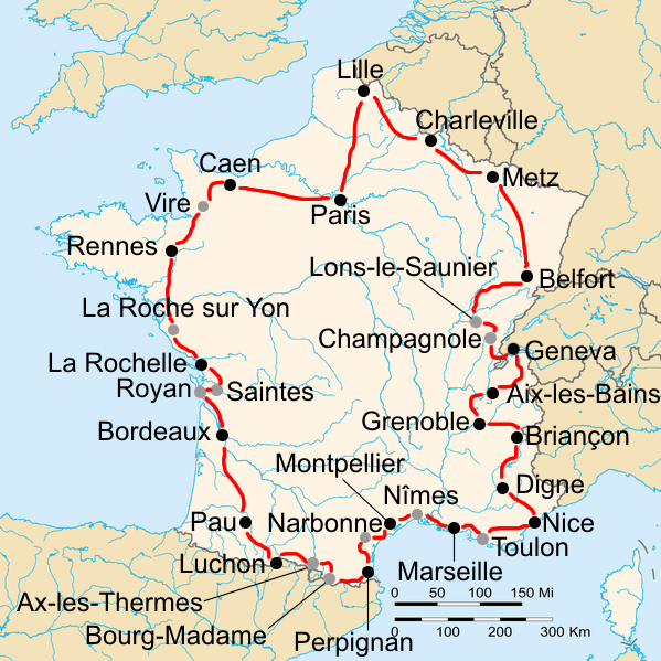 """Tour de France 1937"" by France_blank.png: Stingderivative work: EdgeNavidad (talk) - France_blank.png. Licensed under CC BY-SA 3.0 via Commons - https://commons.wikimedia.org/wiki/File:Tour_de_France_1937.png#/media/File:Tour_de_France_1937.png"